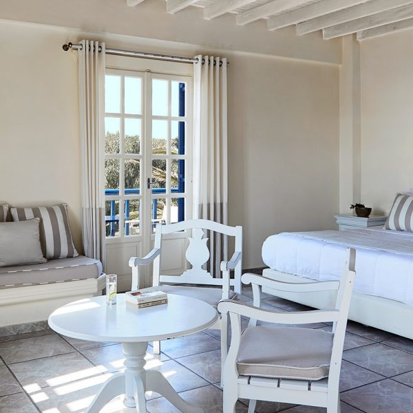 Stylish rustic Cycladic design interior of San Marco Mykonos Hotel Junior Open Plan Sea View Suites