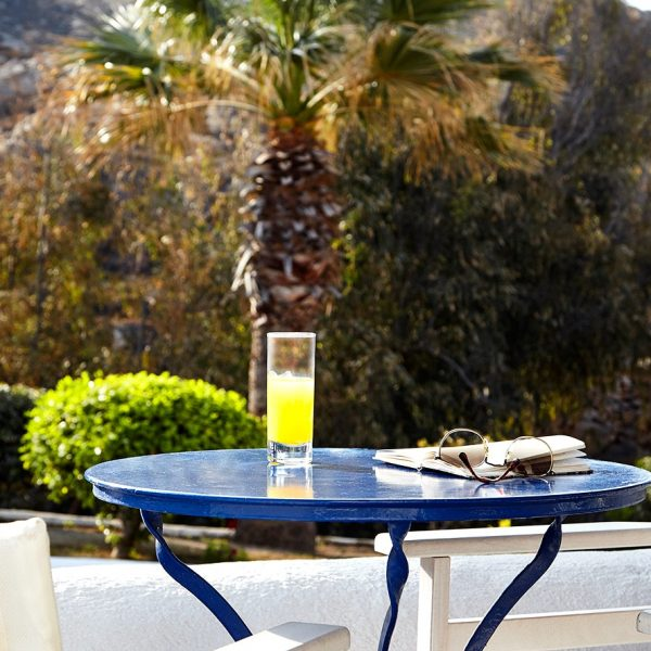 View of palm trees from the private balcony of Classic Garden View Rooms at San Marco Mykonos Hotel