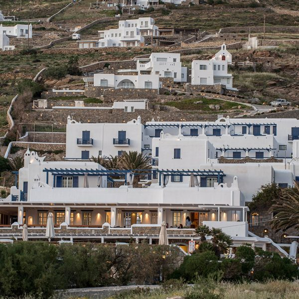 The San Marco Luxury Hotel & Villas buildings set into the side of the hill in Houlakia Bay, Mykonos