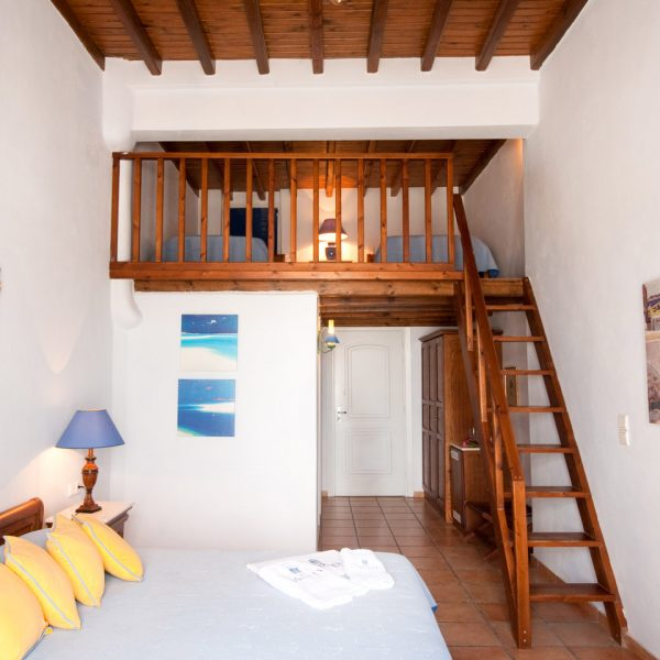 The San Marco Mykonos Hotel Sea View Loft Suites with upstairs bedroom are ideal for families