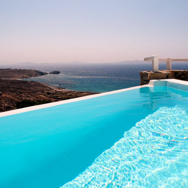 The Artemis Villa private pool at San Marco Hotel has a fantastic view of the sea in Houlakia bay