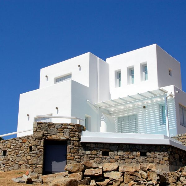 Exterior of the sea view Artemis Villa with private pool at San Marco Hotel in Houlakia Bay, Mykonos