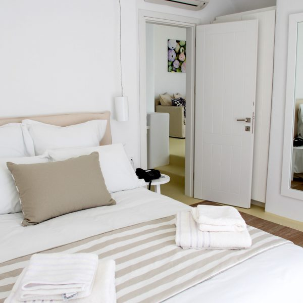 One of 2 airy bedrooms in the private pool Artemis Villa in Houlakia Bay at San Marco Mykonos Hotel