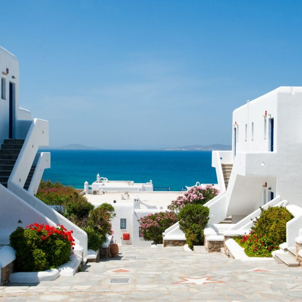 View of the sea from the San Marco Luxury Hotel in Houlakia Bay, Mykonos courtyard.