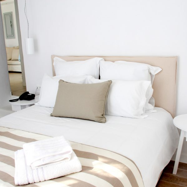 One of the 2 bedrooms in the sea view Leto Villa with private pool at San Marco Hotel in Mykonos
