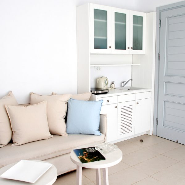 The kitchenette & sitting area of the San Marco Hotel sea view private pool Leto Villa in Mykonos