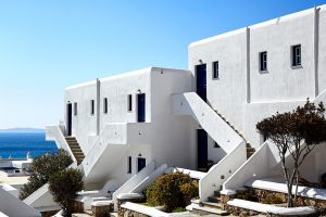 Exterior steps leading up to first floor rooms & suites at the San Marco Luxury Hotel in Mykonos