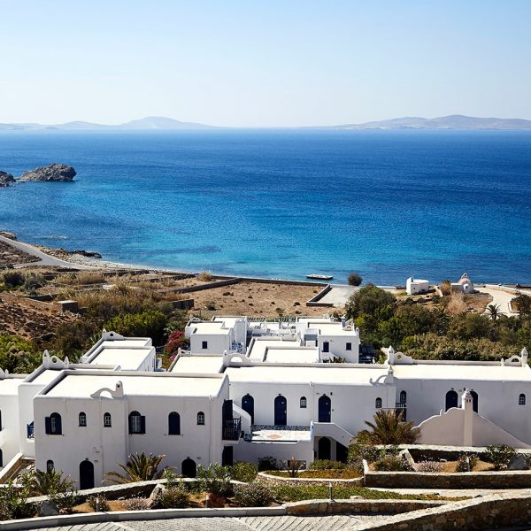 Looking down on the San Marco Luxury Hotel & Villas from the hillside of Houlakia Bay, Mykonos
