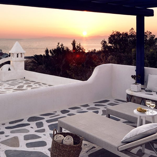 Anemos Honeymoon Suites large private veranda with Houlakia bay sea view at San Marco Mykonos Hotel