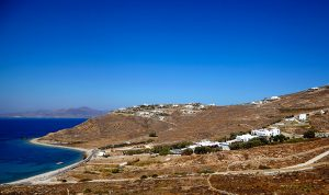 A view of the hillside location of the San Marco Luxury Hotel & Villas in Houlakia bay, Mykonos