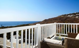 Houlakia bay sea view from balcony of Junior Open Plan Suites at San Marco Hotel & Villas in Mykonos