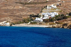 San Marco Luxury Hotel & Villas in Mykonos, as seen from the middle of Houlakia Bay