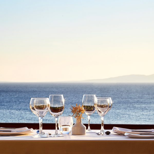 San Marco Mykonos Hotel's choice of restaurants includes Veranda Restaurant, with stunning sea views