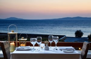 Veranda Restaurant of San Marco Hotel in Mykonos is ideal for a romantic dinner with an amazing view