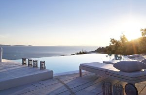 View of the Aegean sea as seen during sunrise from the San Marco Mykonos Hotel in Houlakia bay