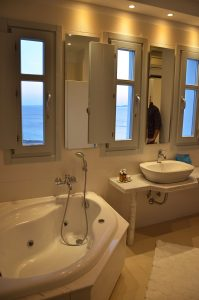 The Houlakia Bay sea view Jacuzzi bathroom of the San Marco Hotel Artemis Villa in Mykonos