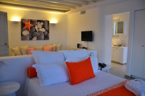 The Asteria Villa at San Marco Hotel in Mykonos features a stylish open plan Cycladic style design