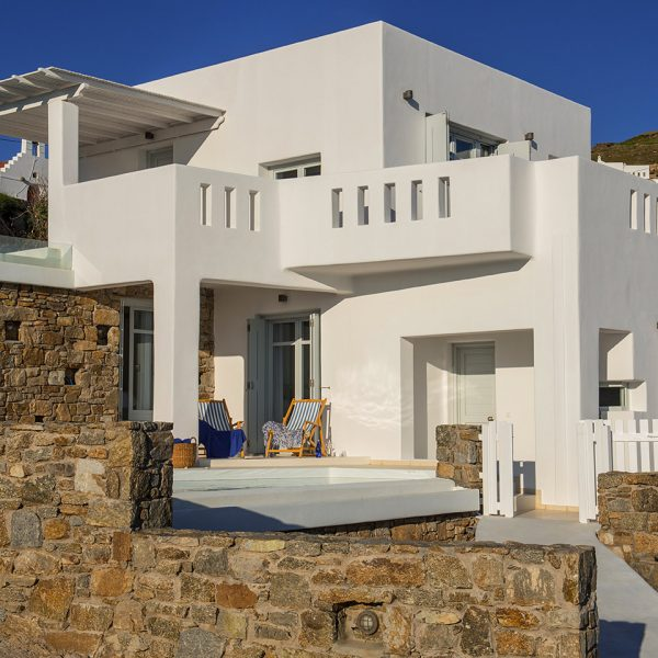 The exterior of the Cycladic design sea view Hera Villa at San Marco Hotel in Houlakia Bay, Mykonos
