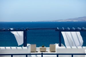 View of the Aegean sea as seen from the San Marco Mykonos Hotel in Houlakia, Mykonos
