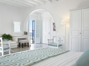 We offer up to 5 different types of spacious Luxury Rooms & Suites at the San Marco Mykonos Hotel.