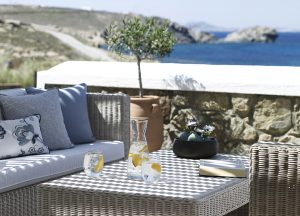 Beautiful view for a refreshing and reinvigorating breakfast at the San Marco Mykonos Hotel.