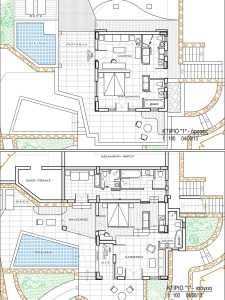 Architectural diagram of the room plan of the sea view Hera Villa at San Marco Hotel in Mykonos