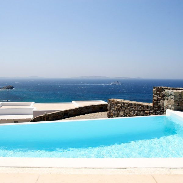 The Houlakia Bay sea view from the private pool of the Hera Villa at San Marco Hotel in Mykonos