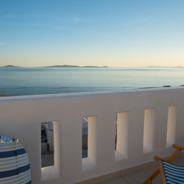 Sunset sea view from the balcony veranda of the San Marco Asteria private pool Villa in Mykonos