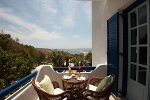 Sea view balcony of the Cyclades Junior Suites at San Marco luxury Hotel in Houlakia Bay, Mykonos