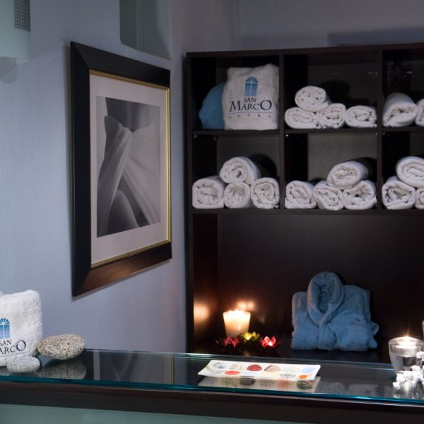 The Houlakia Boutique Spa Mykonos reception area for welcoming guests for treatments and therapies.