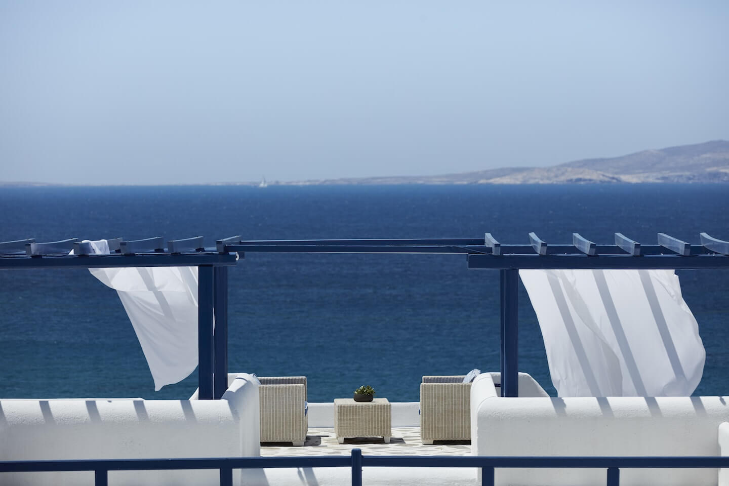 Breathtaking, panoramic views can be enjoyed daily from the Pool Bar & Lounge of San Marco Mykonos.